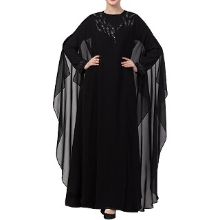 Double layered premium abaya with handwork- Black