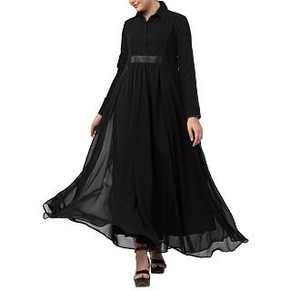 Designer Umbrella cut abaya with dual layer- Black
