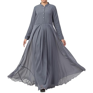 Designer Umbrella cut abaya with dual layer- Grey