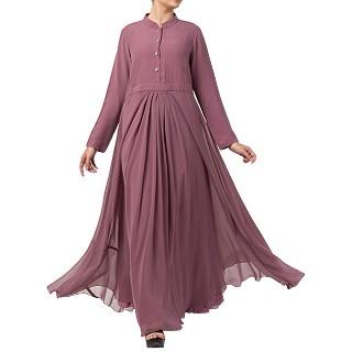 Designer Umbrella cut abaya with dual layer- Puce Pink