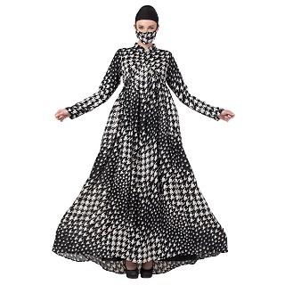 Designer abaya with Umbrella flare- Black-White