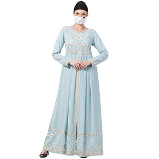 Premium Dress abaya with Zari work- Sky Blue