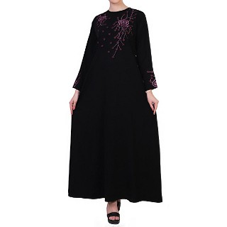 Dress abaya with floral Chikan Embroidery Work- Black
