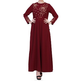 Dress abaya with floral Chikan Embroidery Work- Maroon