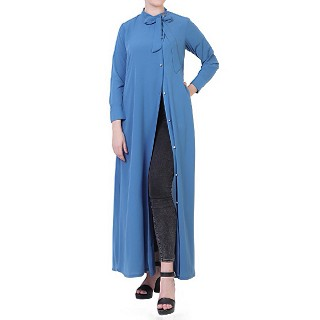 Front open abaya with Tie-ribbon- French Blue