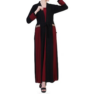 Designer Shrug abaya- Maroon-Black