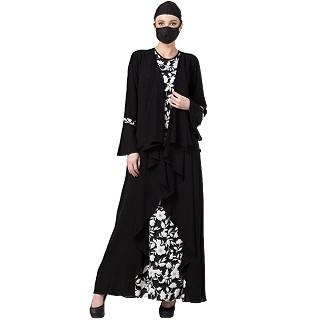 Printed Shrug Abaya- Black-White