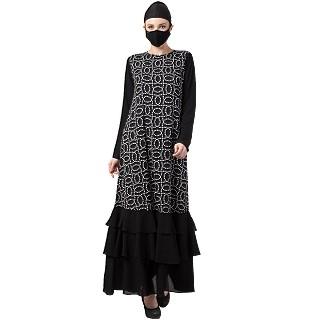 Casual Printed abaya with Frills- Black-White