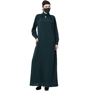 Casual Dress abaya with Pleats- Bottle Green