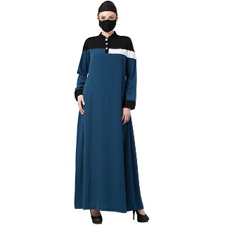 Casual multi-colored A-line abaya- Dark Teal