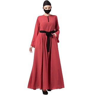Casual dress abaya with Contrast Buttons- Carrot