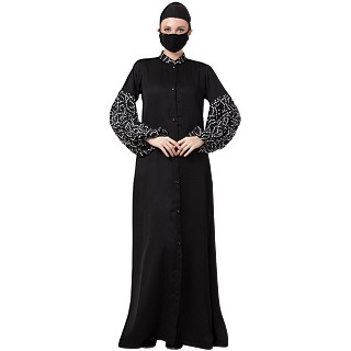 Front open abaya with Printed Balloon Sleeves- Black