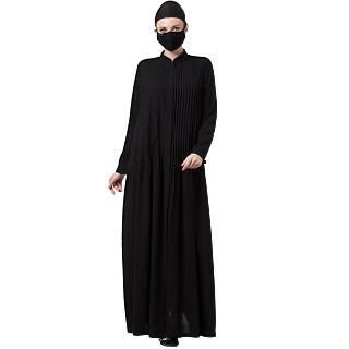 Designer Front open abaya with Pin Tucks- Black