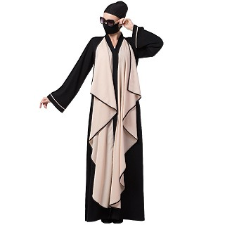Front open abaya with falling Shrug- Black-Fawn