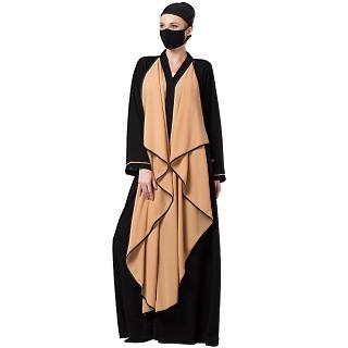 Front open abaya with falling Shrug- Black-Sand
