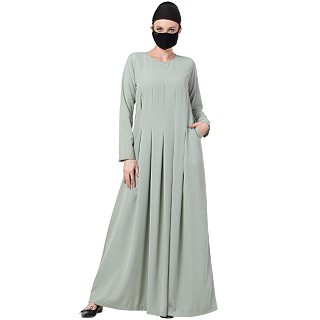 Designer Dress abaya with Inward Pleats- Sea Green