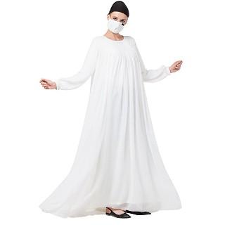 Mexi Dress abaya with Pintucks- White