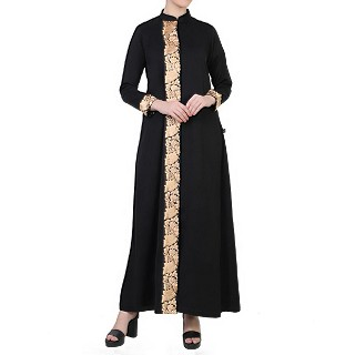 Front open abaya with floral lacework- Black-Beige