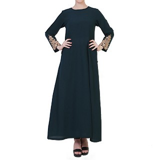 A-line abaya with Chikan Embroidery Work- Green-Gold