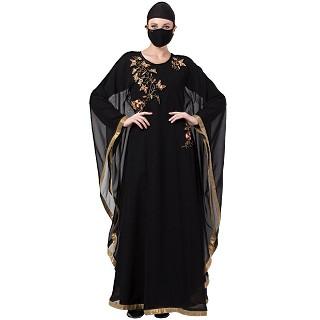 Designer Georgette kaftan with an Inner abaya- Black