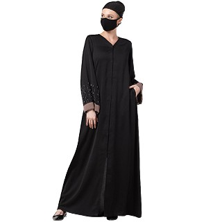 Premium Front open abaya with Contrast border- Black