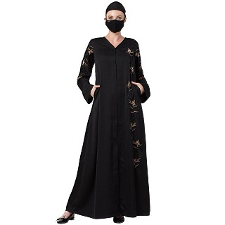 Premium Front open abaya with V-Neck- Black