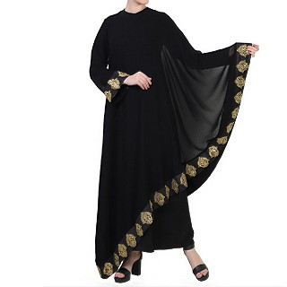Double layered Bridal abaya with Golden lacework