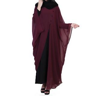 Georgette Cape with Nida inner abaya- Black-Wine