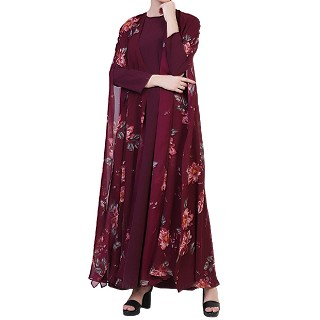 Double layered floral printed abaya - Wine