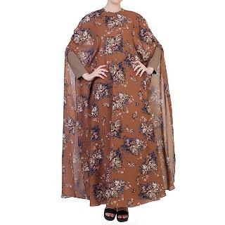 Double layered floral printed abaya - Khaki-Print