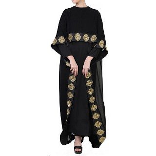 Designer Cape abaya with lacework- Black-Gold