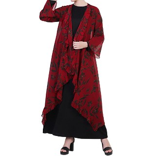 Printed Shrug Abaya- Black-Maroon