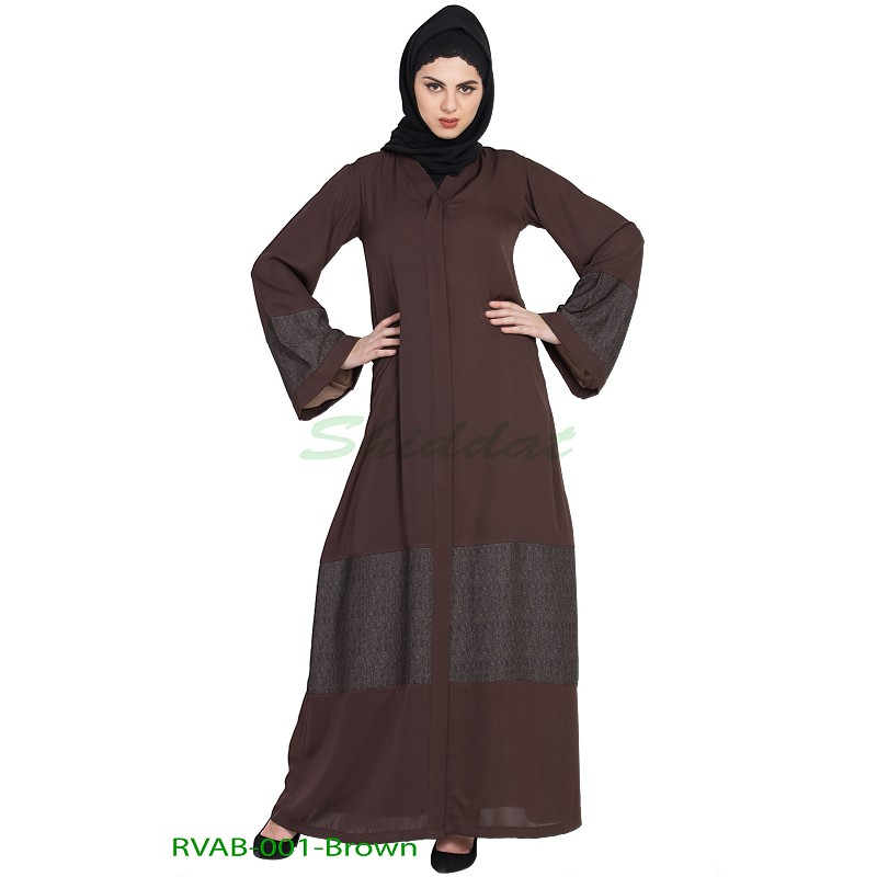 603b2190d03e0 Front open reversible abaya- Brown
