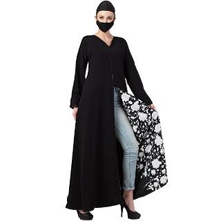 Reversible Front open abaya - Black-White