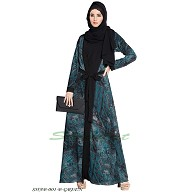 Shrug abaya- Black-Green print