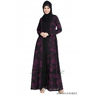 Shrug abaya- Black-Purple print