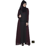 Shrug abaya- Black and Maroon Check