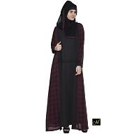 Shrug abaya- Black and Maroon Check