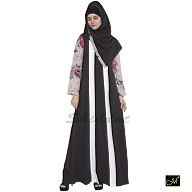 Abaya- Dark grey colored with beige Print