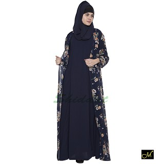 Abaya with with blue colored printed shrug
