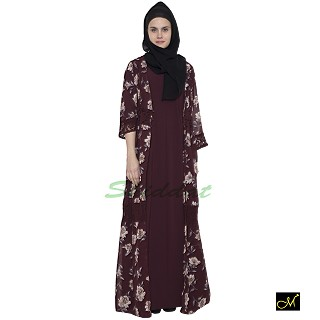 Shrug abaya with Burgundy printed