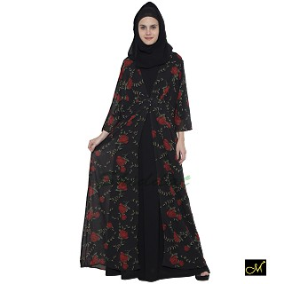 Shrug Abaya with black and Red printed shrug