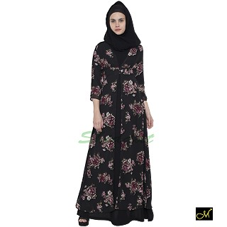 Shrug Abaya with black printed shrug