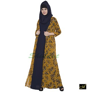 Shrug abaya with Mustard printed shrug