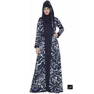 Printed Shrug abaya- Navy Blue-White