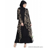 Fowling shrug double layered abaya- Black-Olive Green