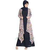 Fowling shrug double layered abaya- Blue-Beige