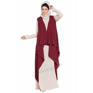 Shrug abaya- Beige-Maroon