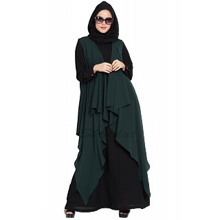 Shrug abaya- Black-Green