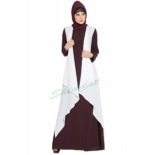 Shrug abaya- Wine-Off White